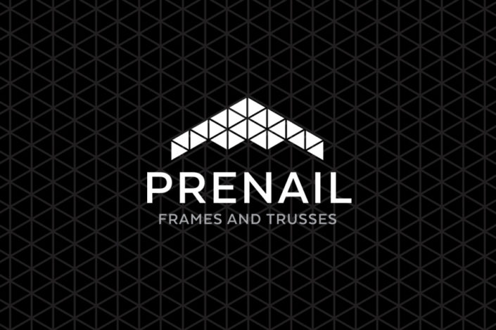 Prenail Frames & Trusses logo and stationery design