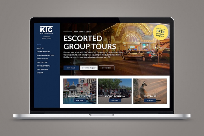 Kiwi Travel Club website design